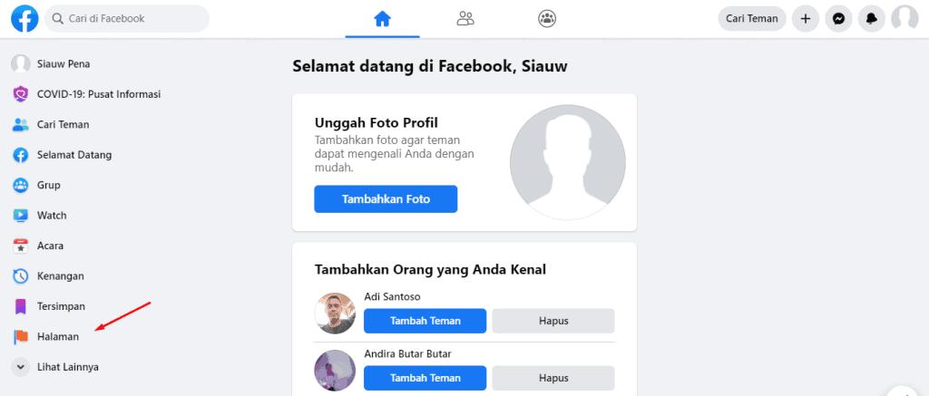 halaman facebook